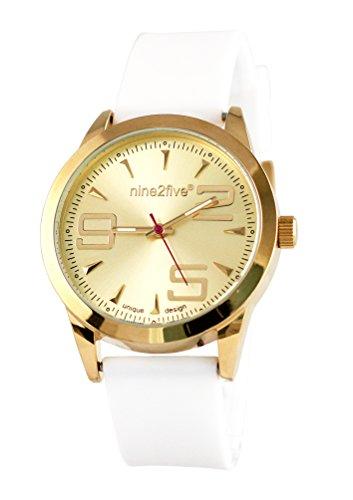 nine2five aevy07blgl Envy Blanco de la Mujer Dial de Oro Banda de Silicona Reloj