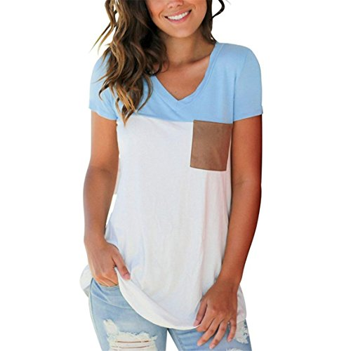 Moonuy Verkäufe Mehr als Hundert Bestellungen Täglich, Frauen Sommer T-Shirt, Casual Kurzarm V-Ausschnitt Color Block T-Shirt Elegante Slim Tops Bluse mit Taschen (EU 38/Asien L, Blau)