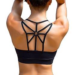 YIANNA Sujetador Deportivo para Mujer con Relleno Extraíble Top Sujetadores Deporte sin Costuras Negro,UK-YA-BRA139-Black-2XL