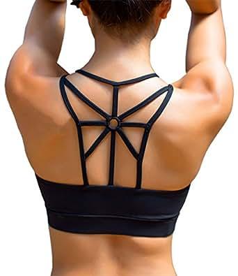 YIANNA Women Black Sports Bra Padded Elastic Breathable Comfortable Seamless Wireless Cross Back Yoga Bra Crop Top,UK-YA-BRA139-Black-S