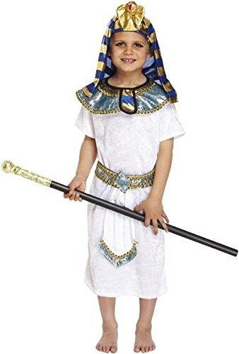 Pams Niño Disfraz: Egipcio Faraón - Mediano 6-8 Años - Pharoroah 7-9 Años (aprox.) - Con: Túnica, Accesorio Para Pelo, Cuello & Correa - Disfraz de farón edad 10-12 aprox