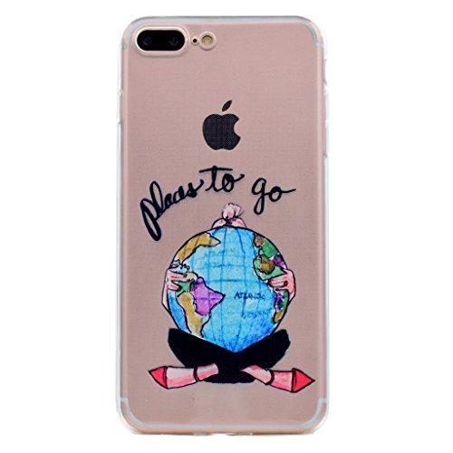 Per iPhone 7 Cover , YIGA mondo ragazza Sottile Cristallo Chiaro Case Trasparente Silicone Morbido TPU Custodia per Apple iPhone 7 (4.7) TT11