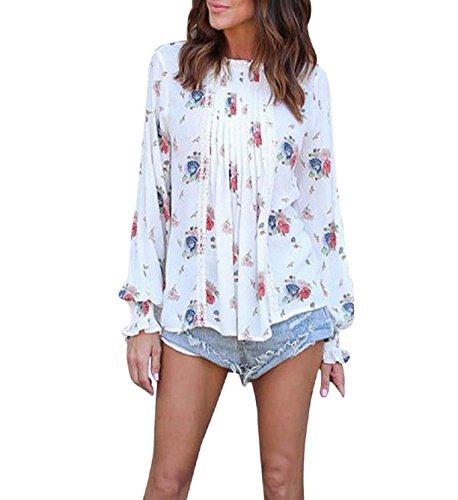 Rosennie Damen Frühling Herbst Chiffon Blumen T-Shirt Lange Ärmel Beiläufig Lose Elegant Bluse Tops (Asiatisch S, Weiß) (Top Asiatische)