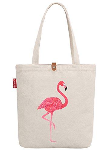 So'each Women's Animal Flamingo Bird Graphic Top Handle Canvas Tote Shoulder Bag (Tiger Canvas Bag Tote)