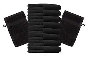 10er Pack Waschhandschuhe Waschlappen Premium Größe 16x21 cm Farbe Schwarz Kordelaufhänger 100% Baumwolle
