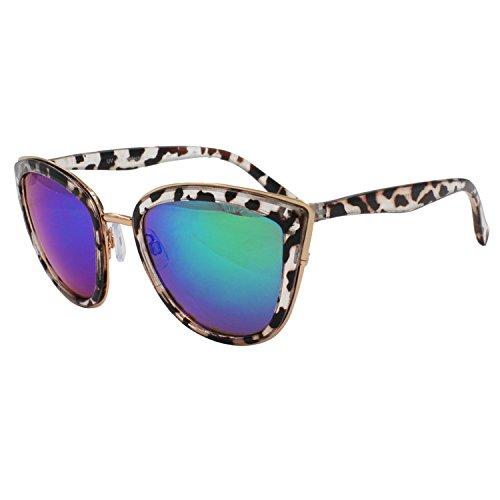 vivienfang da donna colore specchio Lens Occhiali da sole oversize Cateye P1891 nero Smoke Demi Frame Blue Revo