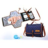 Ninilulu Portable Changing Diaper Station With Waterproof Wipeable Pad - Quality Compact Foldable Baby Travel Bag And Mat With Extra Comfortable Head Foam - 2 Bonus: Pacifier Case, Cream Container