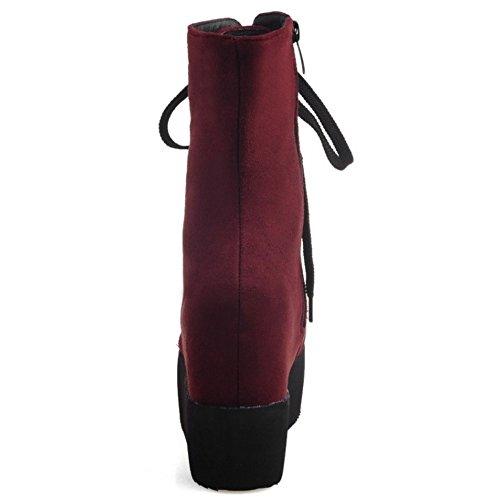 TAOFFEN Damen Western Retro Keilabsatz Reißverschluss Kurze Stiefel Rotwein