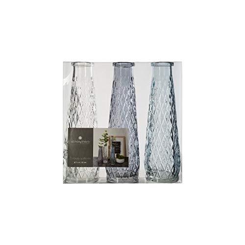 AC-Déco Vase soliflore en Verre - Lot de 3 - Bleu