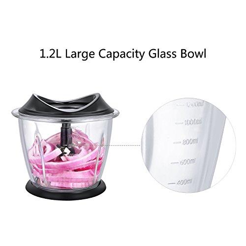 Aicok Picadora Eléctrica para Verdura Fruta y Carne con Recipiente de Cristal Mini Picadora de alimentos con 1.2L 300W Libre de BPA Negro.
