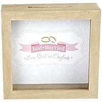 Preisvergleich für Holz Sparbox / Spardose - natur Holz - Spardose Reisekasse Geldkasse - Hochzeit Just married pink - syo (Just married - syo109)