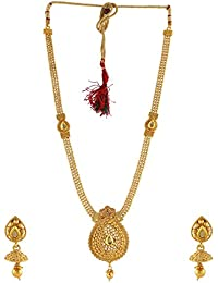 Anuradha Art Oval Shape Designer Studded With Peach Colour Stones Traditional Long Necklace Set For Women/Girls