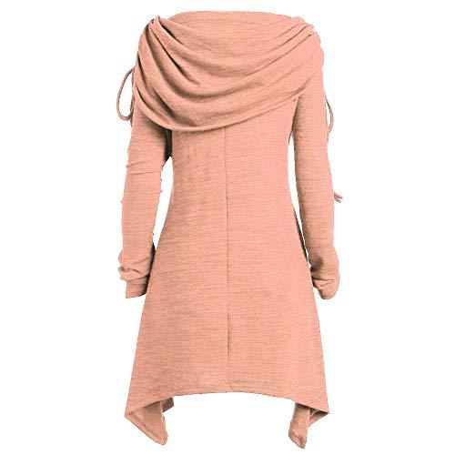 BHYDRY Plus Size Damenmode solide Geraffte Lange Foldover Kragen Tunika Top Bluse Tops(Small,Orange)