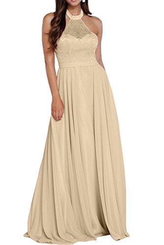 Promgirl House Damen Romantisch Neckholder A-Linie Spitze Chiffon Lang  Abendkleider Brautmutterkleider Ballkleider Champagner