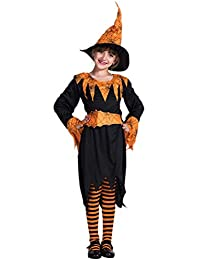 BESTOYARD Fiesta de Halloween Pumpkin Spider Witch Cosplay Suit Niños Stage Performance Costume Set Holiday Cosplay (Sombrero, Vestido y Cinturón, M)