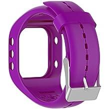 Silicona reloj banda correa de repuesto Flexible longitud ajustable pulsera Fitness para Polar A300reloj inteligente, morado