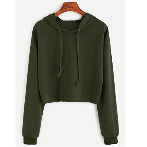 BZLine Femmes Polyester Style Court Sweat-shirt à Capuche Manche Longue Pull-over Hole au Lacet Couleur Unie Vert armée