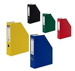 5 Karton Stehsammler Stehordner Din A4 Je 1x Schwarz, Rot, Blau, Grün,gelb