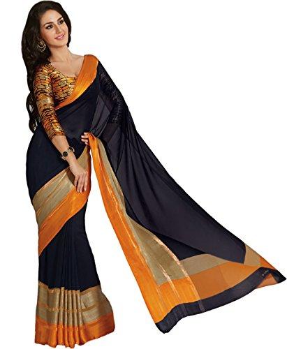 Taanshi Women Raw Silk Saree With Blouse Pcs -8030