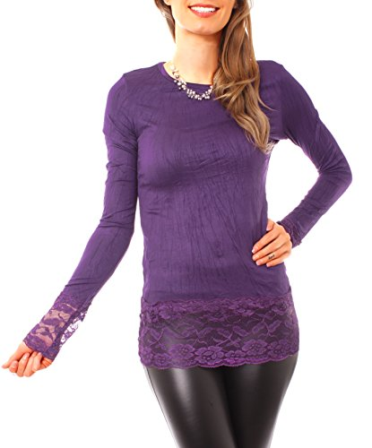 Easy Young Fashion - Top à manches longues - Femme Violet - Violet