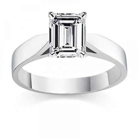 1.55 Carat E/VVS1 Emerald Certified Diamond Solitaire Engagement Ring in 18k White Gold