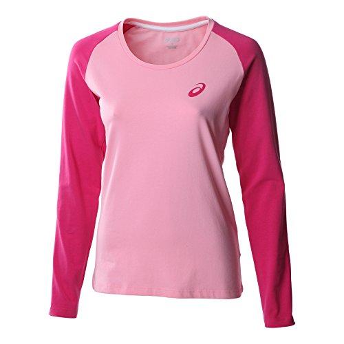 Ladies Essential Colourblock L/S Tee - Pink -