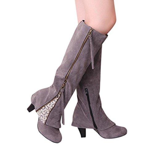 Stiefel Damen, DoraMe Frauen Reißverschluss Schnürstiefeletten Keil Schnalle Biker Schuhe Trim Hochhackigen Boots (41, Grau) (Boot Schuh Trim Schnalle)