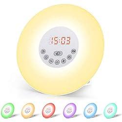 Wecker Wake Up Light Lichtwecker, mit 7 Wecktöne (inkl. 2Naturklänge und FM), 7Farben, 10Dimmstufen, Sonnenaufgangssimulator, Nachtlicht mit Adapter, Wecker für Kinder Erwachsene(Neue Version)