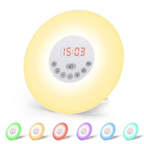 Wake Up Light, Lámpara Despertador Luz Nocturna Adaptador de LED + Cable USB Control Táctil Salida del Sol/Puesta del Sol/Radio FM/6 Sonidos Naturales/7 Colores/10 Niveles de Brillo (6638)