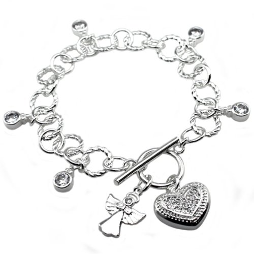 Argento antico placcato cuore Angel & CZ Brass Toggle Bracelet 7.5