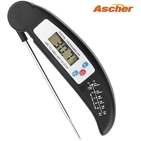 Termómetro del alimento, Ascher Cocina termómetro / LCD Digital termómetros domésticos / cocina Termómetro digital con sonda para cocinar, barbacoa, carne, asada, comida (Negro)