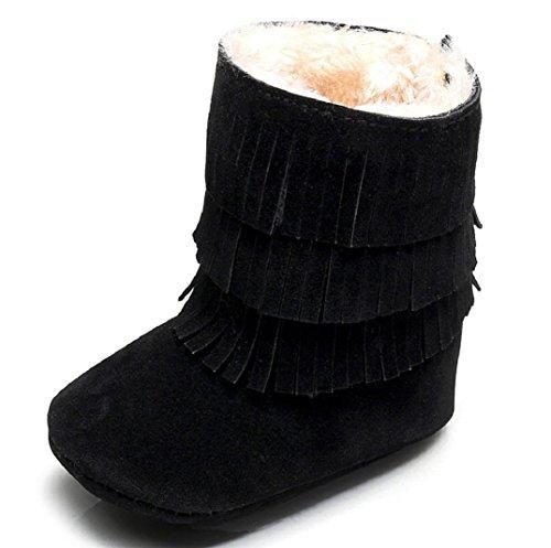 Schön Babyschuhe Schneestiefel,Amcool Baby Quasten Weiche Sohle Winter Warme Schuhe Lauflernschuhe Kleinkind Schuhe Stiefel Baby Prewalker Krippe Schuhe (6-9 Monatlich, Schwarz)