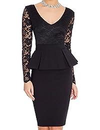 0145ec43ebbe Vestiti Eleganti Donna Vintage Business Falbala Vestito A Matita - Nero - L