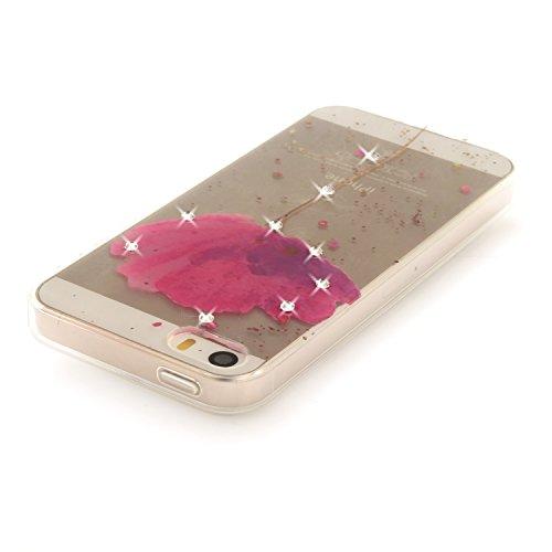 "Coque iPhone 5s, SsHhUu Ultra Mince [Crystal Diamonds] Flexible Caoutchouc Doux TPU Étui Bumper Silicone Gel Anti-Scratch Cover pour Apple iPhone 5 / 5s / SE (4.0"") Totem Purple Orchid"