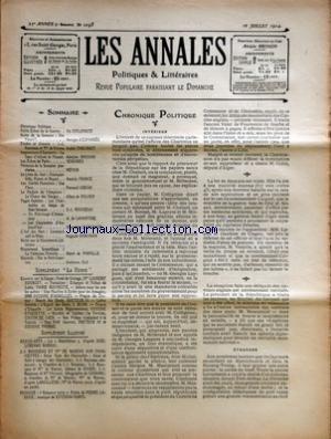 ANNALES POLITIQUES ET LITTERAIRES (LES) [No 1098] du 10/07/1904 - M. CHABERT - M. MILLERAND - M. LAGRAVE - LES GRANDES AFFAIRES INDUSTRIELLES - M. COLIN DEPUTE D'ALGER - DEPUTES DE L'OPPOSITION - MM. LASIES - GAUTHIER DE CLAGNY - VAZEILLE - M. MASCURAUD - D'ESPARBES - A. THEURIET - A. BRISSON - SERGINES - A. FRANCE - F. GREGH - A. DE POLHES - J.J. ROUSSEAU - A. DE LAMARTINE - H. BUFFENOIR - A. DORCHAIN - H. DE PARVILLE - MME BOURGET - M. ROUHESTE - J. BLUM - DR JO