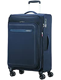 American Tourister Airbeat - Spinner 68/25 Expandable Equipaje de mano, 68 cm, 75 liters, Azul (True Navy)