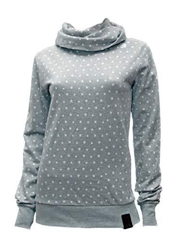 Jumpster Damen Turtleneck Kragen Hoodie Bio-Baumwolle Eco Slim Fit Melange Stars Grau L - Melange Turtleneck