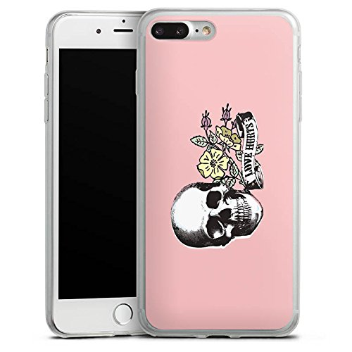 Apple iPhone X Slim Case Silikon Hülle Schutzhülle Skull Love Hurts Flower Silikon Slim Case transparent