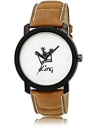 Style Keepers Amazing Stylish Sport Look King White Dial Stylish Brown Leather Strap Analog Watch For Men & Boys