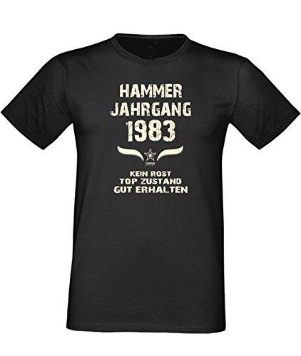 Humorvolles Happy-Birthday Fun-t-shirt Geschenk für den liebsten Menschen mit Sprüche-Motiv: zum 33. Geburtstag Hammer Jahrgang 1983 Farbe: schwarz Schwarz