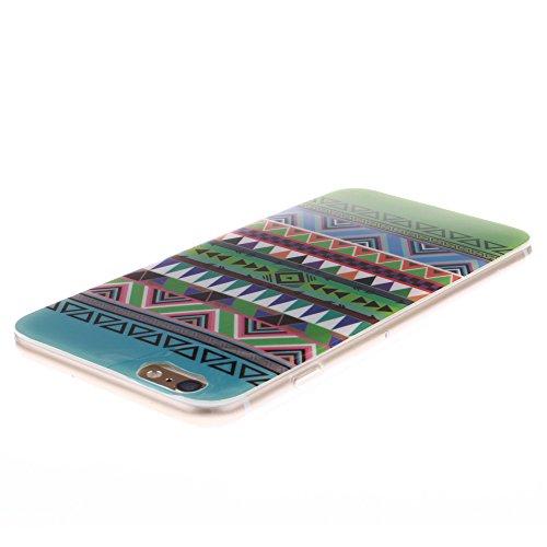 Pour Apple iPhone 6 4.7 pouce Cas, MCHSHOP Ultra-mince TPU Silicone Cover souple Phone Housse Coque de protection pour iPhone 6 4.7 pouce - 1 gratuit Touch Pen (Blanc tête de tigre) Vert aztèque tribal