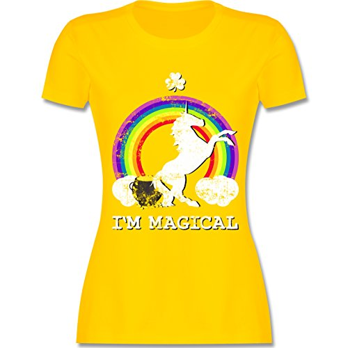 ... Damen T-Shirt Rundhals Gelb. Shirtracer St. Patricks Day - I'm Magical  Einhorn St. Patricks Day Vintage