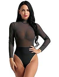 Freebily Femmes Body Combinaisons à Manches Longues Col Roulé Transparent  Bodysuit Moulante Justaucorps Lingerie Soirée Taille 170d6ee9e07