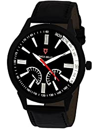 Svviss Bells™ Original Black Dial Black Leather Strap Analog Wrist Watch For Men - TA-830