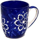 MUGHAL Hand Painted Coffee Mug, MUGHAL Blue, Highly Glazed, Set Of 2 PC