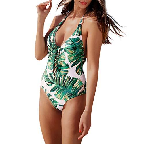Firefly Kostüm Batman - Vectry Damen Sommer Monokini, Mode Bikini Einteiliges Rückenfreies Schwimmen Krawatte Blatt Gedruckt Kostüm Push Up Gepolsterte Badeanzug Bademode Badeanzug Grün,L