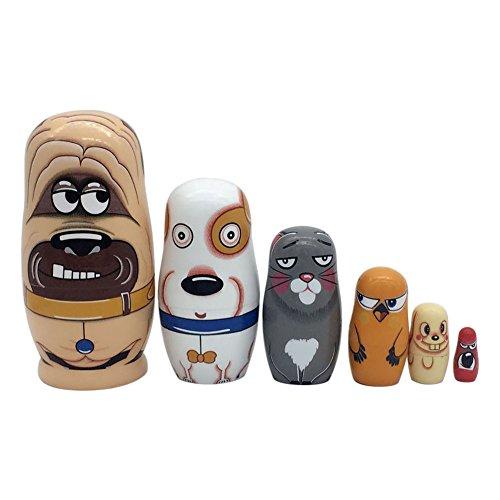 Wildlead Muñecas Rusas,6 Capas muñecas de anidación de Madera Pintura Linda muñeca Rusa Matryoshka Juguetes Pintados a Mano decoración del hogar Regalos de los niños