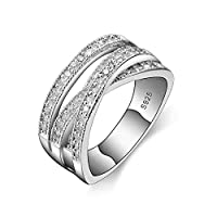 BESTPICKS 925 Sterling Silver Stamp Cubic Zirconia Bijoux Wedding Engagement Ring for Women's Gift