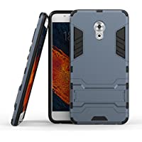 Ougger Fundas para Meizu Pro 6 Plus Funda Carcasa Case, Protector Extrema Absorción de Impacto [Kickstand] Piel Armor Cover Duro Plástico + Suave TPU Ligero Rubber 2in1 Back Gear Rear Negro