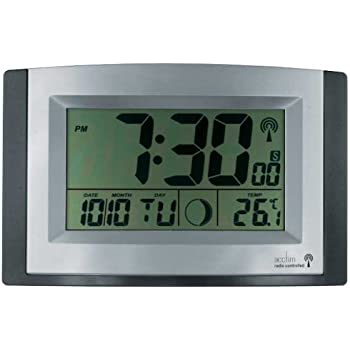 Acctim Radio Controlled LCD Wall Clock Amazoncouk Kitchen Home